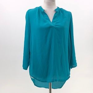 three pink hearts teal popover blouse sz M Medium